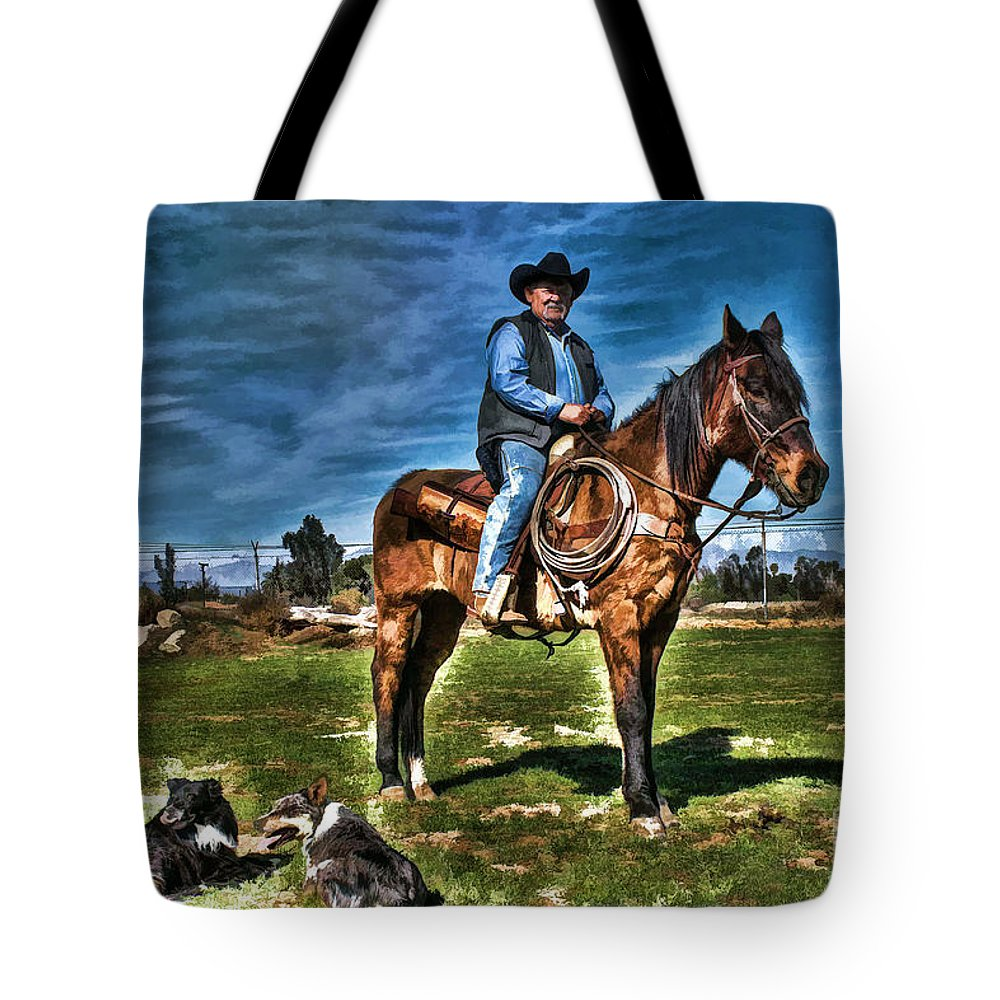 Cowboy Tote Bag featuring the photograph Working The Ranch by Tommy Anderson