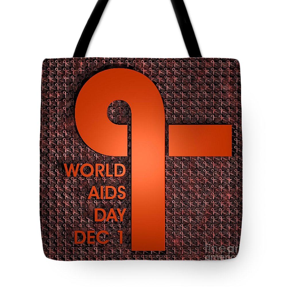 Signs Tote Bag featuring the digital art World Aids Day by Walter Oliver Neal