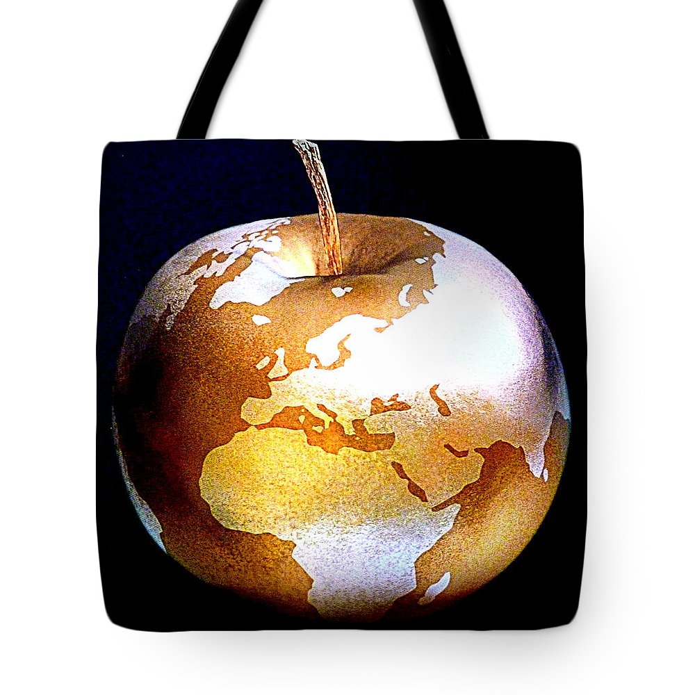 Apple Tote Bag featuring the photograph World Apple by The Creative Minds Art and Photography