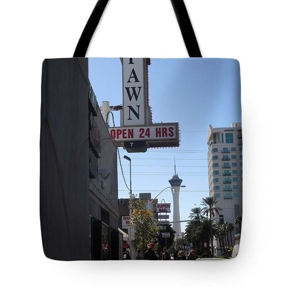 World Famous Tote Bag featuring the photograph World Famous Gold And Silver Pawn Shop by Kay Novy