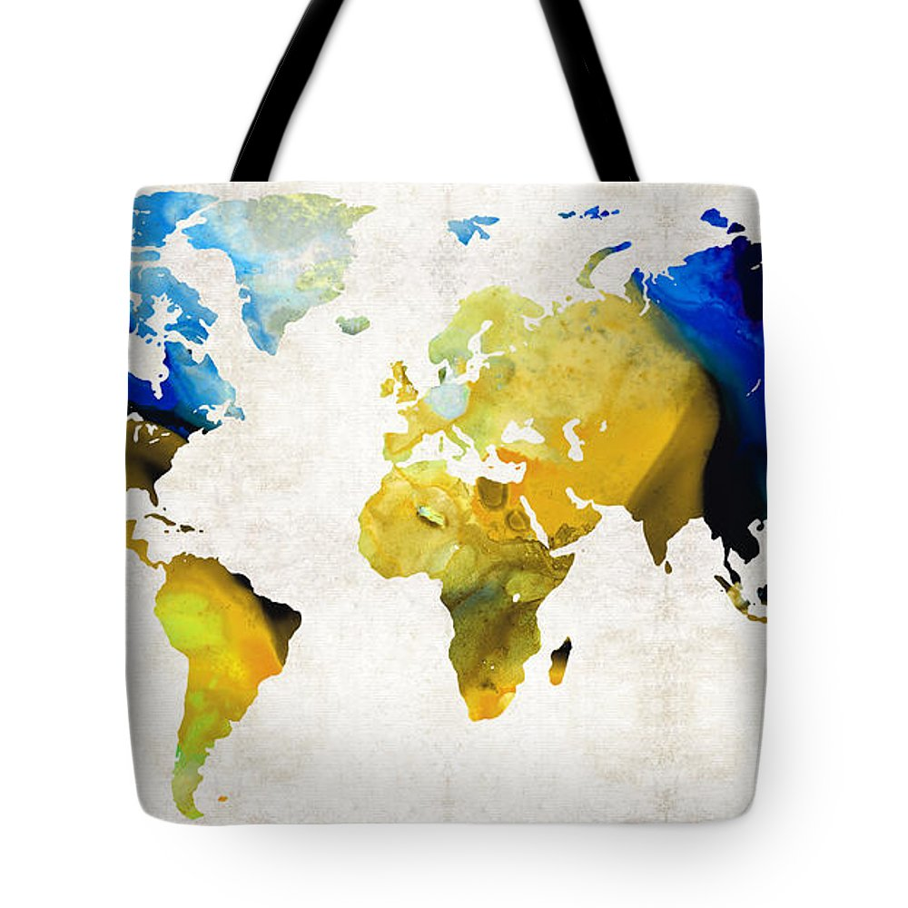 Map Tote Bag featuring the painting World Map 16 - Yellow And Blue Art By Sharon Cummings by Sharon Cummings