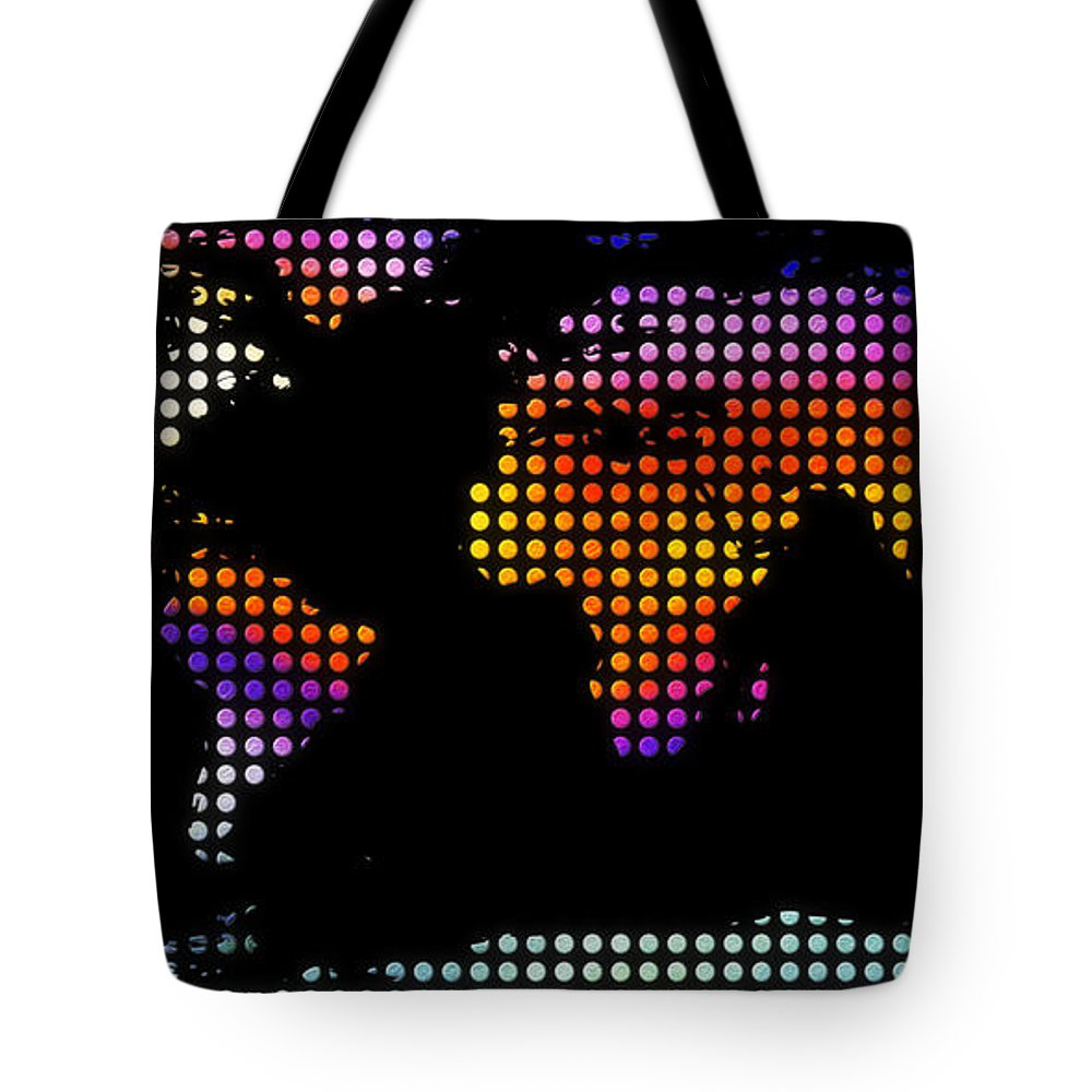 Map Of The World Tote Bag featuring the painting World Map Colourful Dots #2 by Pixel Chimp