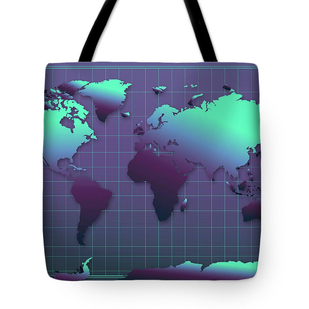 Map Of The World Tote Bag featuring the painting World Map In Dark Green by Bekim Art
