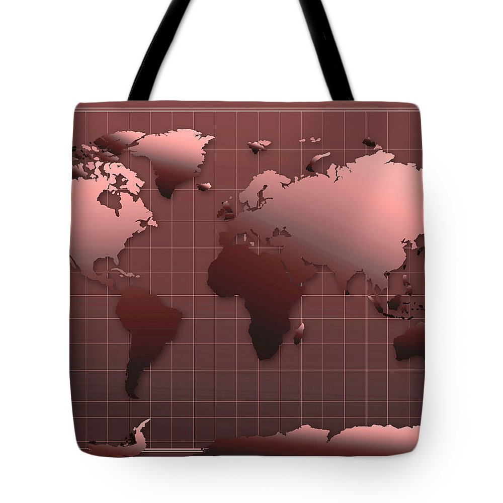 Map Of The World Tote Bag featuring the painting World Map In Dark Red by Bekim Art