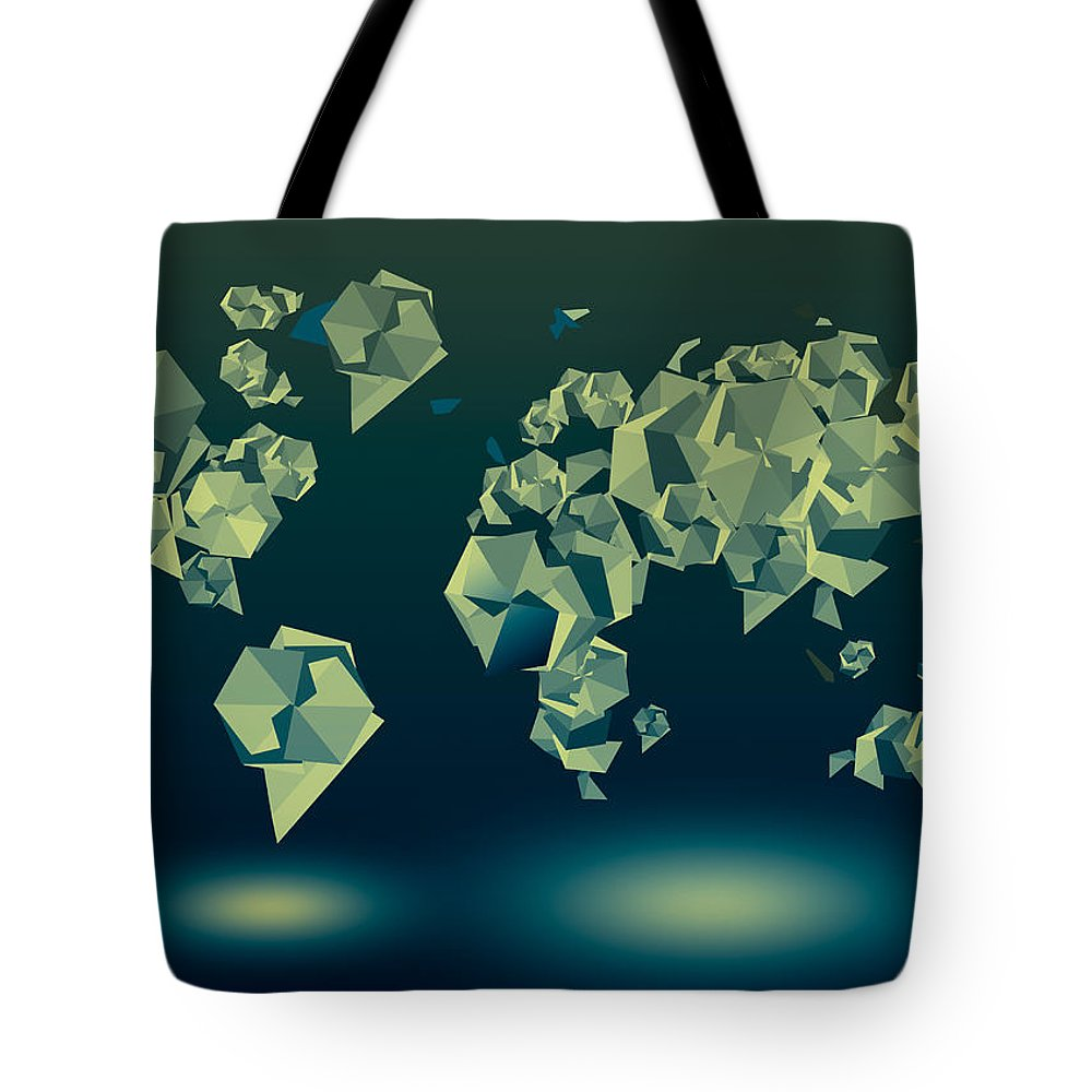 Map Of The World Tote Bag featuring the painting World Map In Geometric Green by Bekim Art