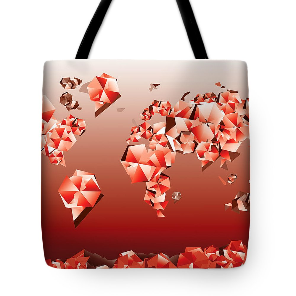 Map Of The World Tote Bag featuring the painting World Map In Geometric Red by Bekim Art