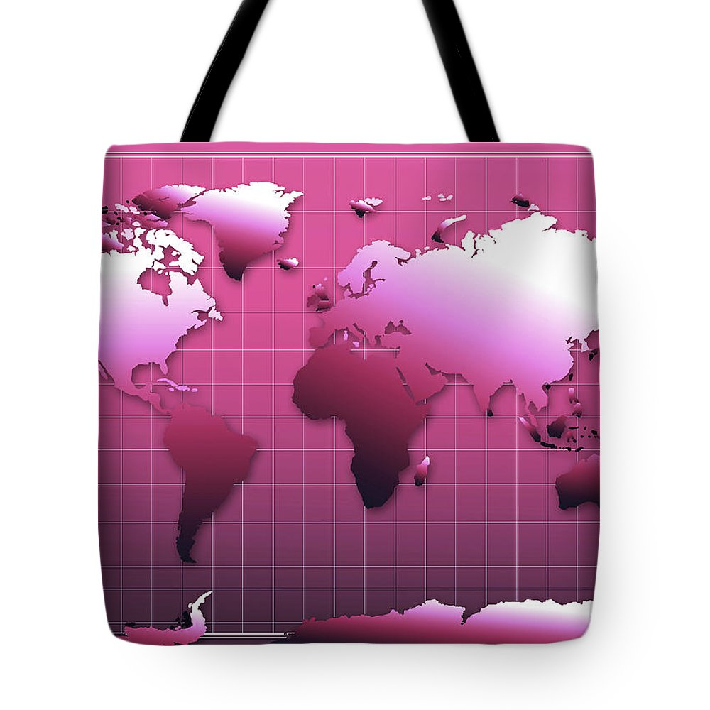 Map Of The World Tote Bag featuring the painting World Map In Pink by Bekim Art