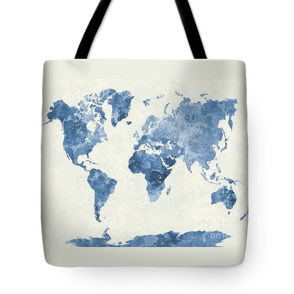 Map Tote Bag featuring the painting World Map In Watercolor Blue by Pablo Romero