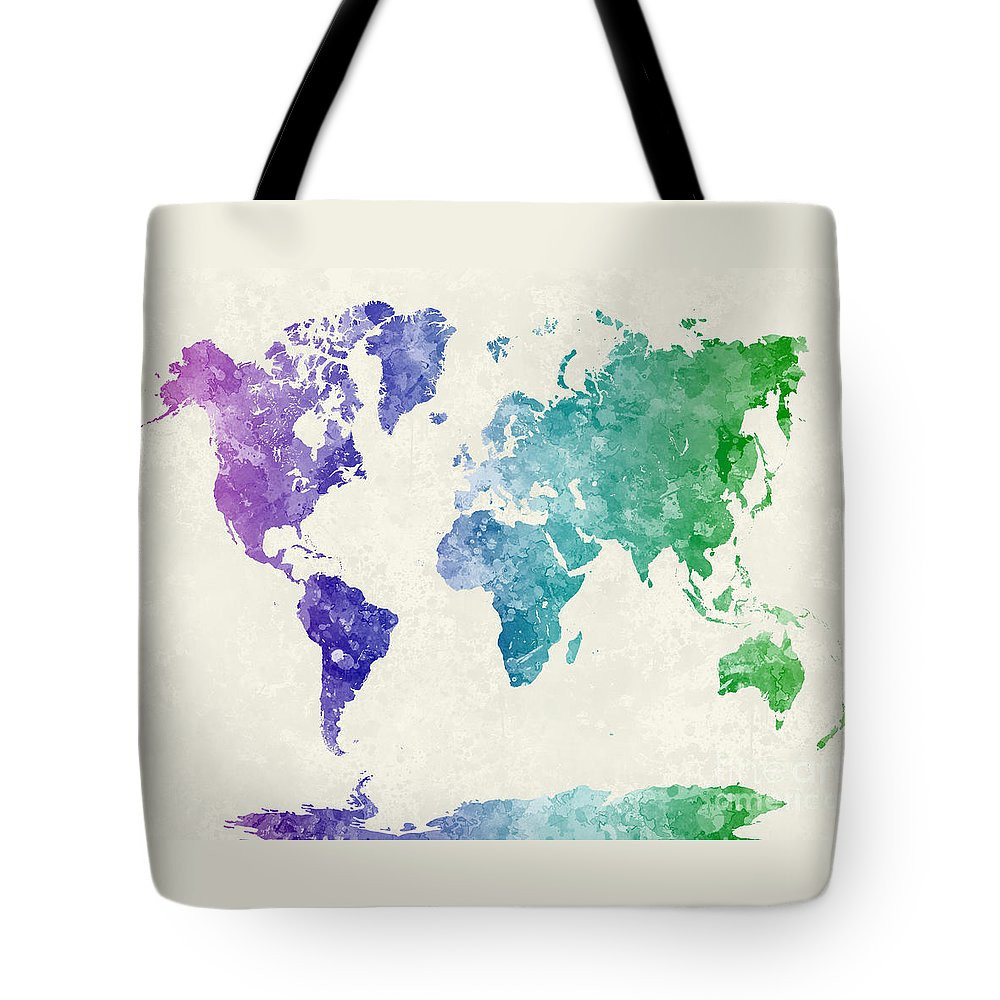Map Tote Bag featuring the painting World Map In Watercolor Multicolored by Pablo Romero