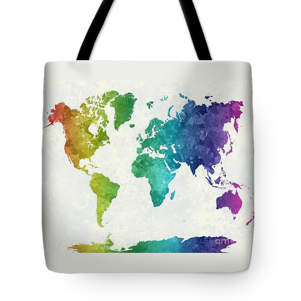 Map Tote Bag featuring the painting World Map In Watercolor Rainbow by Pablo Romero