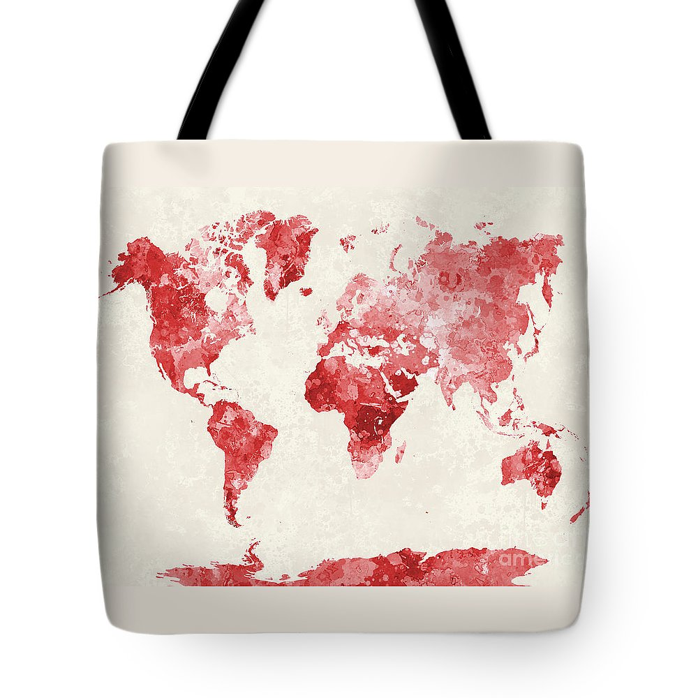 Map Tote Bag featuring the painting World Map In Watercolor Red by Pablo Romero