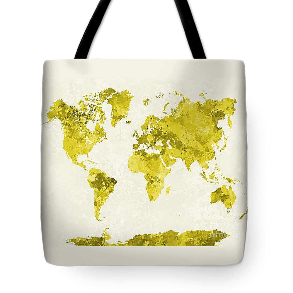 Map Tote Bag featuring the painting World Map In Watercolor Yellow by Pablo Romero