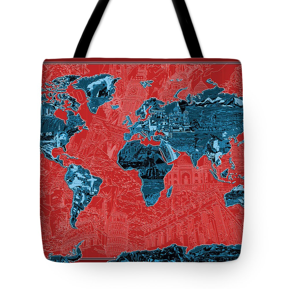 Map Of The World Tote Bag featuring the painting World Map Landmark Collage 11 by Bekim Art