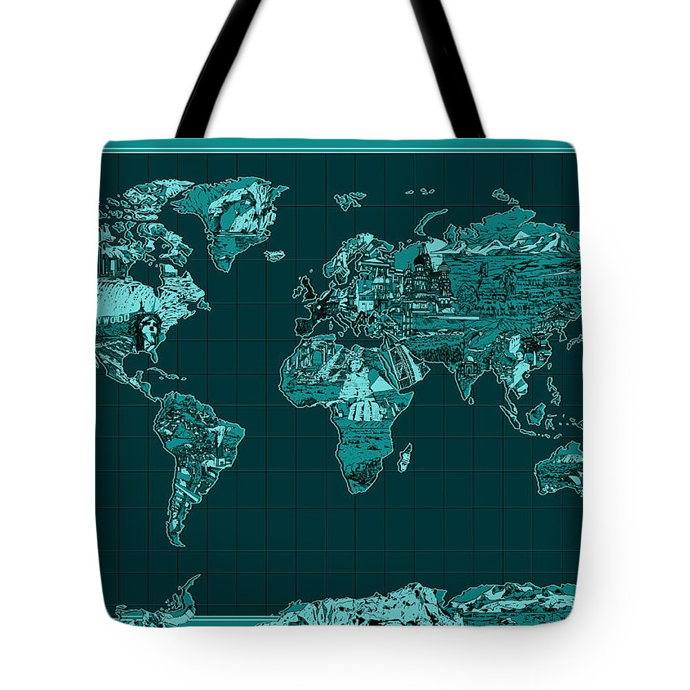 Map Of The World Tote Bag featuring the painting World Map Landmark Collage 4 by Bekim Art