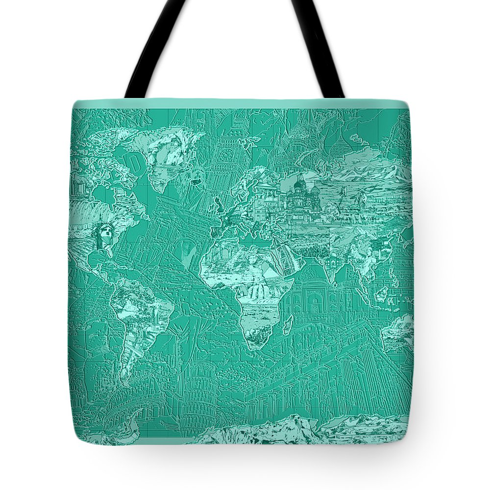 Map Of The World Tote Bag featuring the painting World Map Landmark Collage Green by Bekim Art