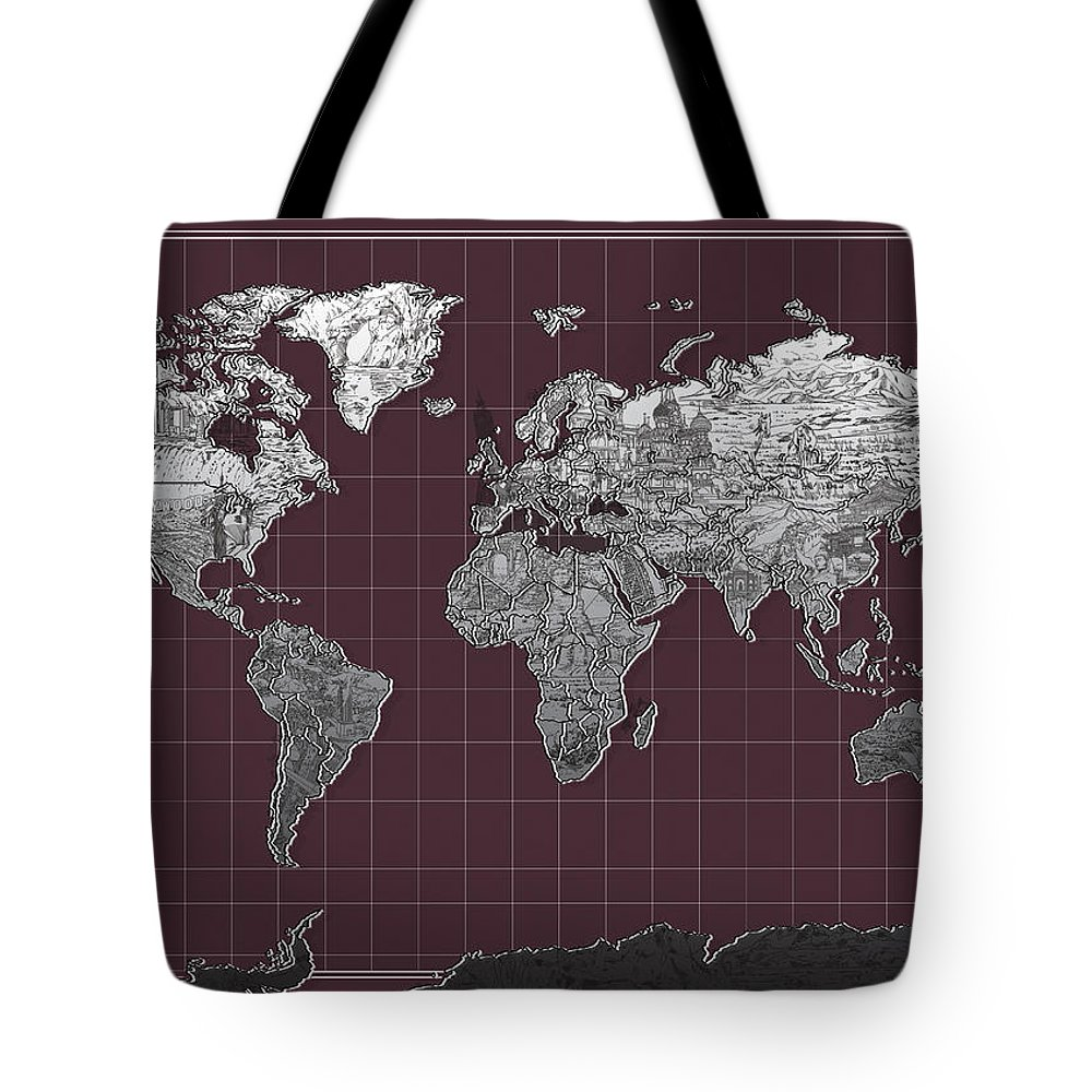 Map Of The World Tote Bag featuring the painting World Map Landmark Purple by Bekim Art