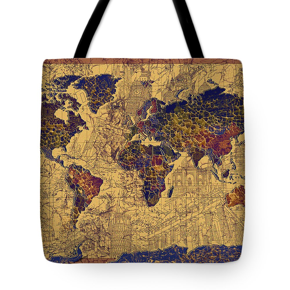 Map Of The World Tote Bag featuring the painting World Map Vintage by Bekim Art
