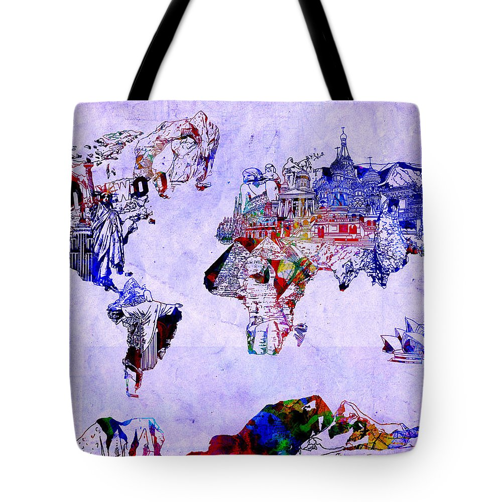 Map Of The World Tote Bag featuring the painting World Map Watercolor 2 by Bekim Art