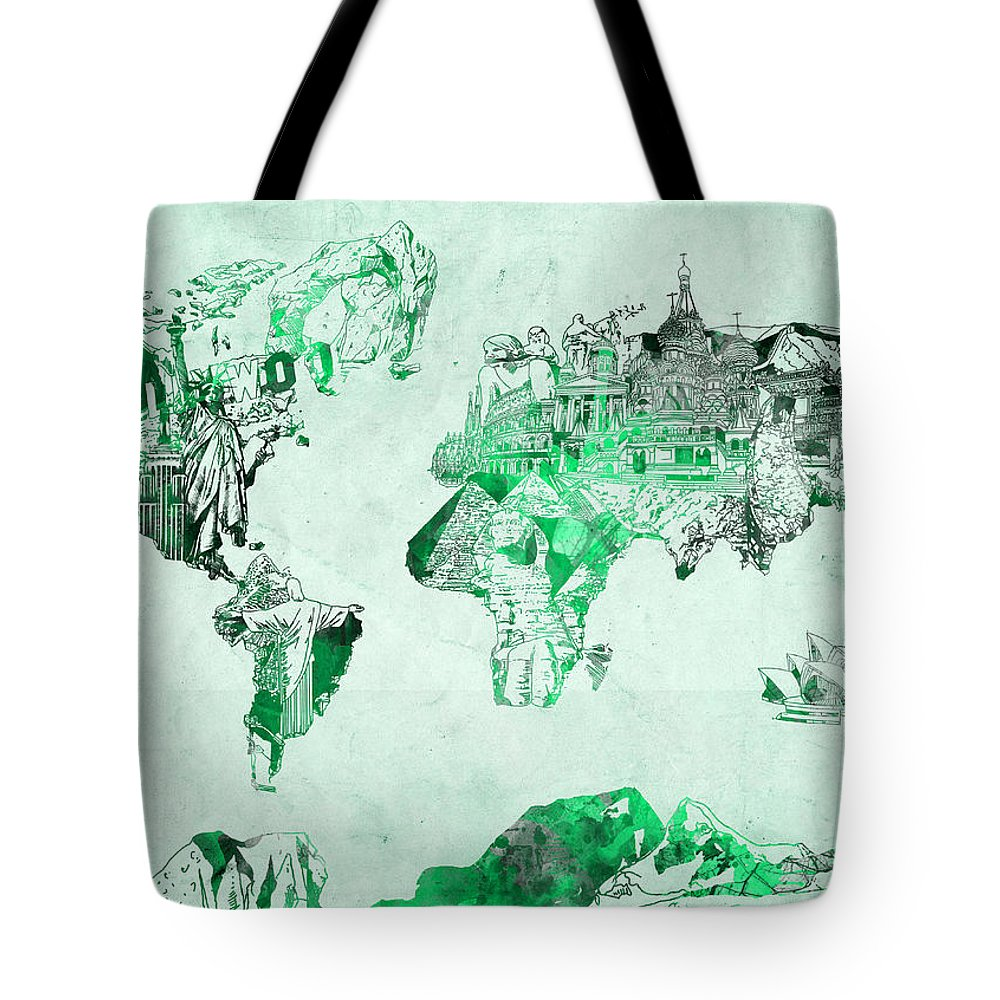Map Of The World Tote Bag featuring the painting World Map Watercolor 4 by Bekim Art