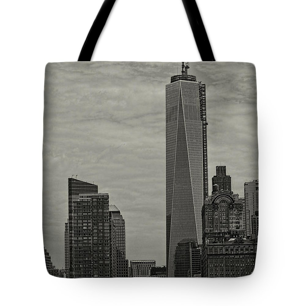 World Trade Center Tote Bag featuring the photograph World Trade Center Construction by Jonathan Davison