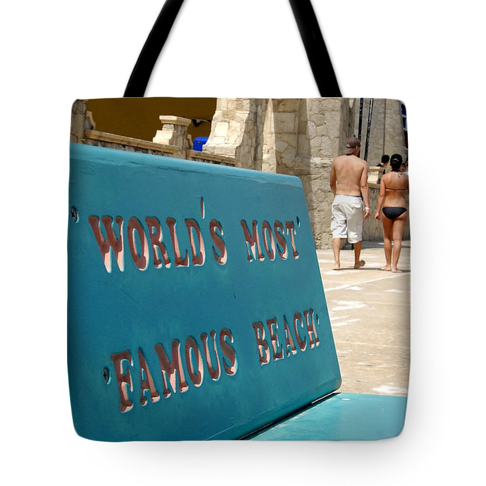 Daytona Beach Florida Tote Bag featuring the photograph Worlds Most Famous Beach Bench by David Lee Thompson