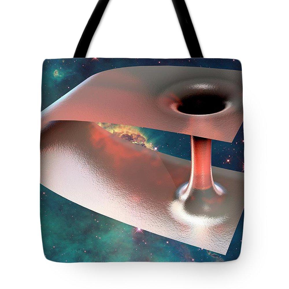 Concepts & Topics Tote Bag featuring the digital art Wormhole, Conceptual Artwork by Laguna Design