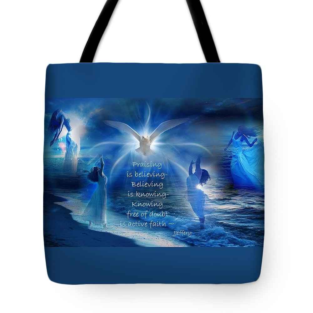 Worship Tote Bag featuring the digital art Worship by Jewell McChesney