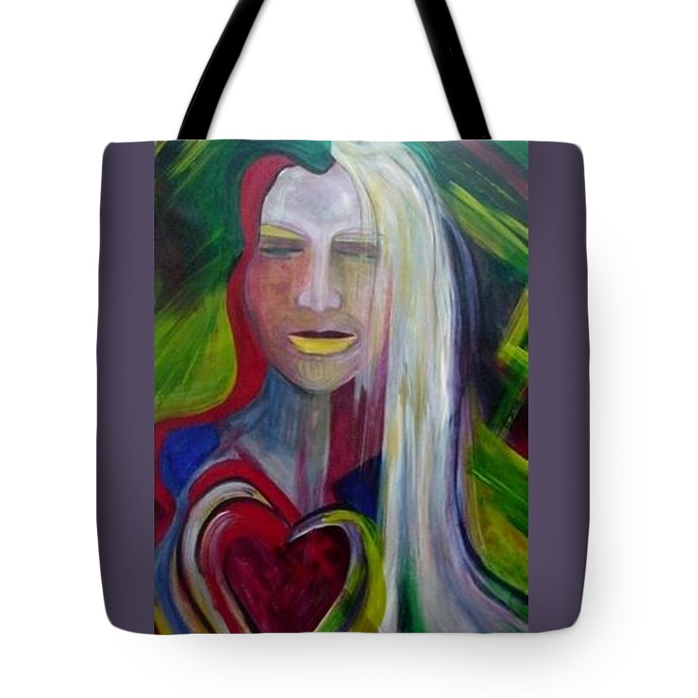 Portrait Tote Bag featuring the painting Wounded by Carolyn LeGrand