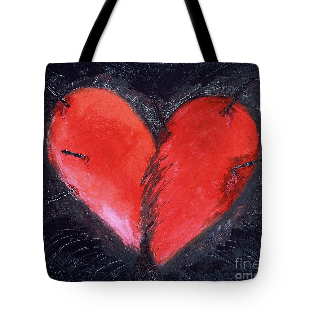 Heart Tote Bag featuring the painting Wounded Heart by Karen Francis