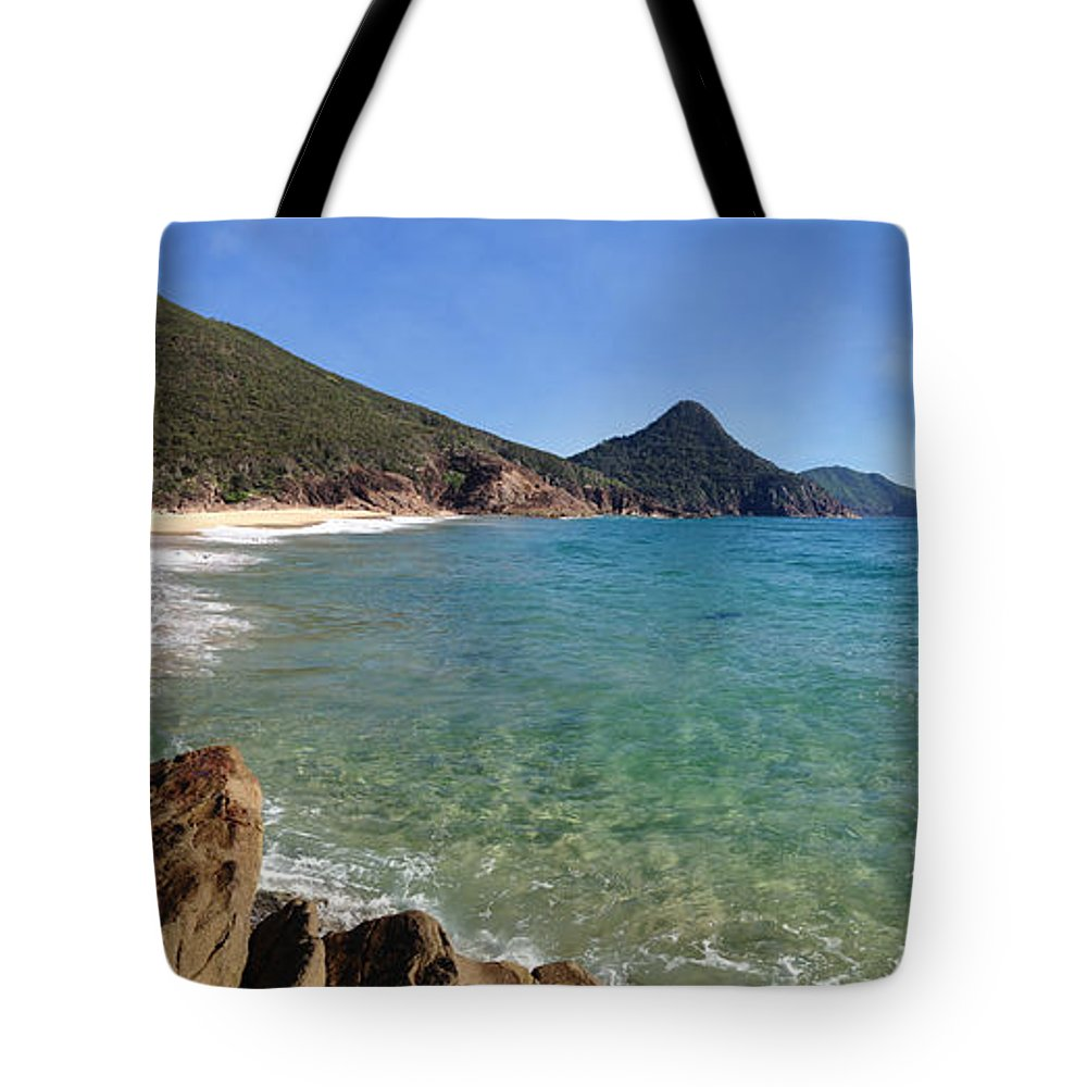 Wreck Beach Tote Bag featuring the photograph Wreck Beach Shoal Bay Port Stephens by Leah-Anne Thompson