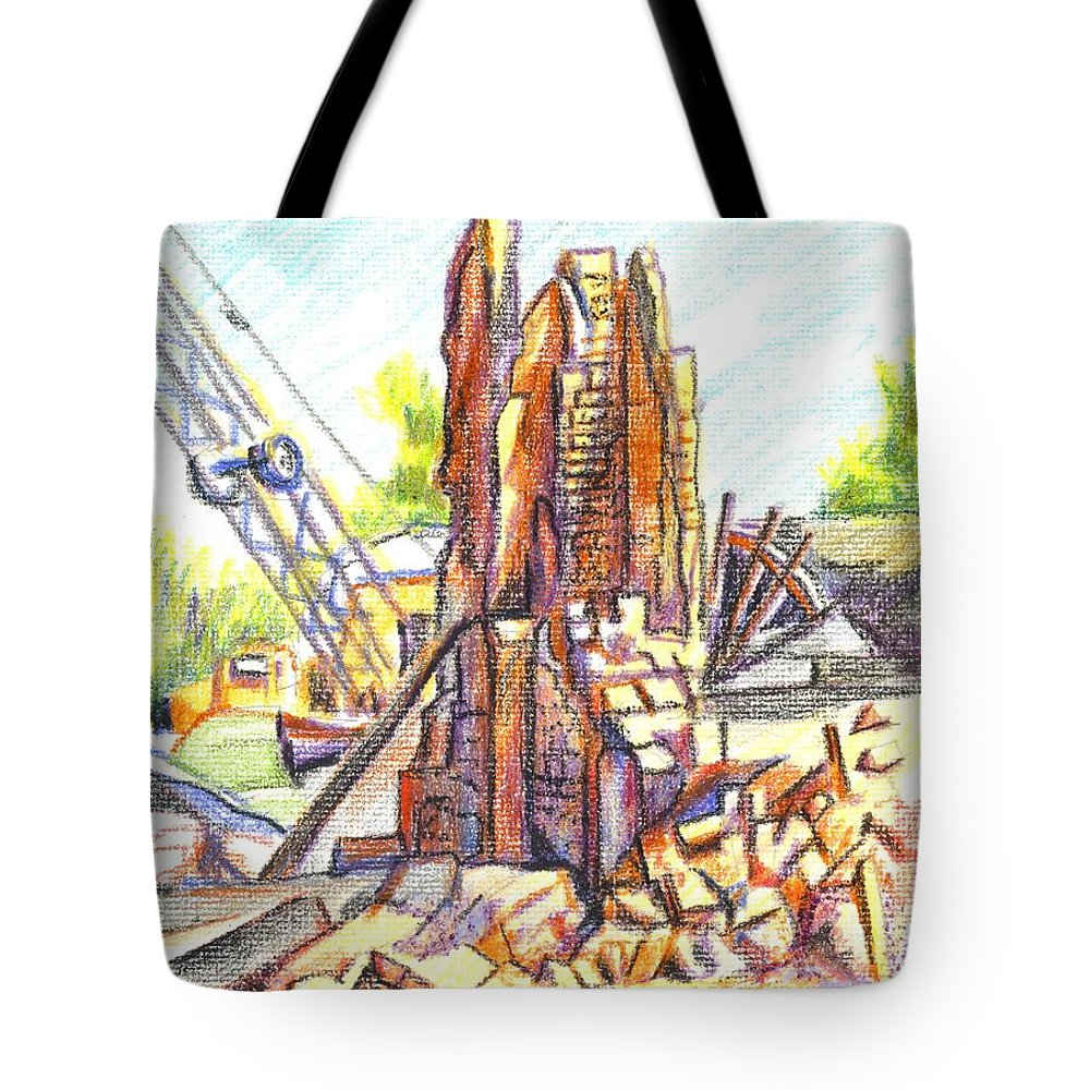 Wrecking Ball Tote Bag featuring the painting Wrecking Ball by Kip DeVore