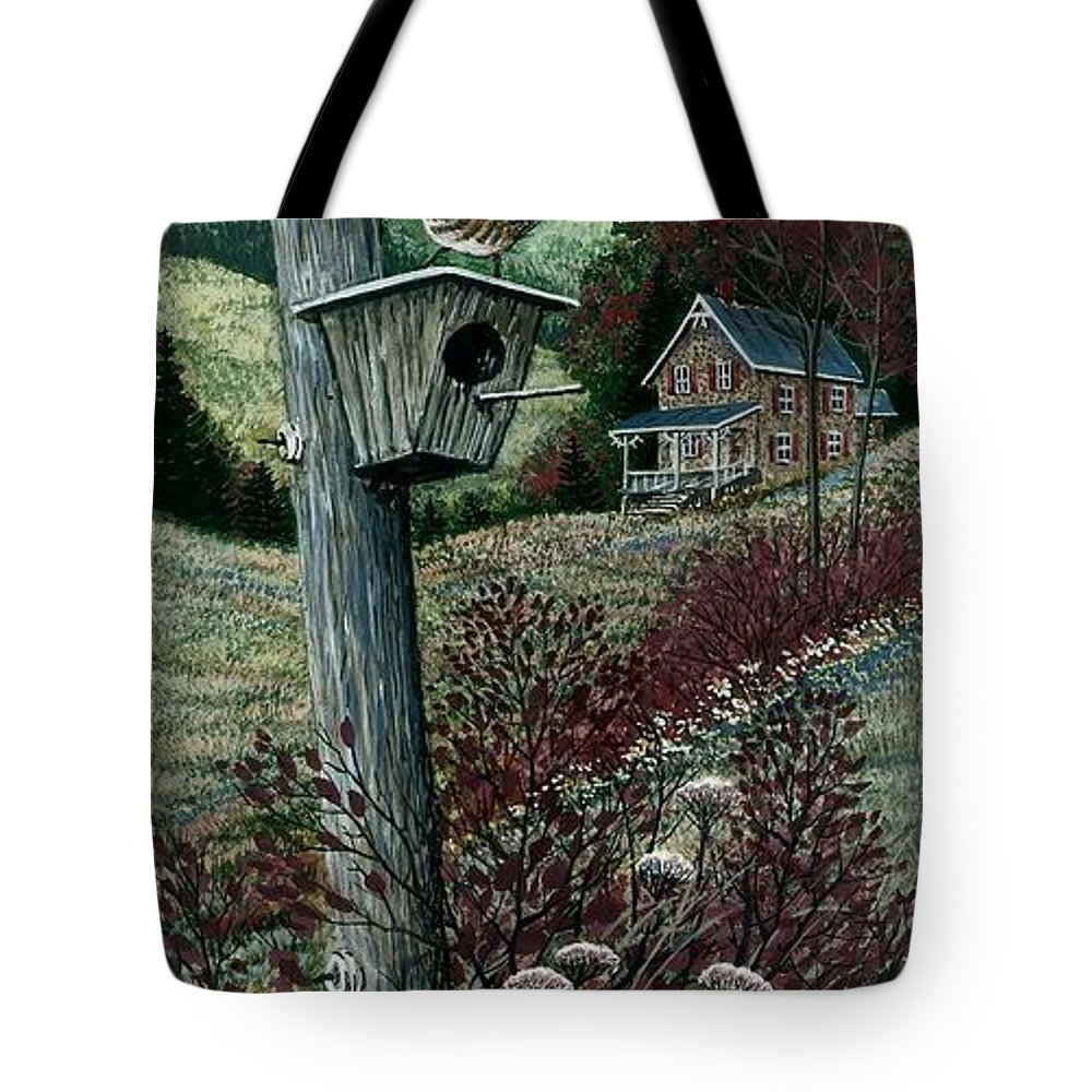 Wren House Tote Bag featuring the painting Wren House by Steven Schultz