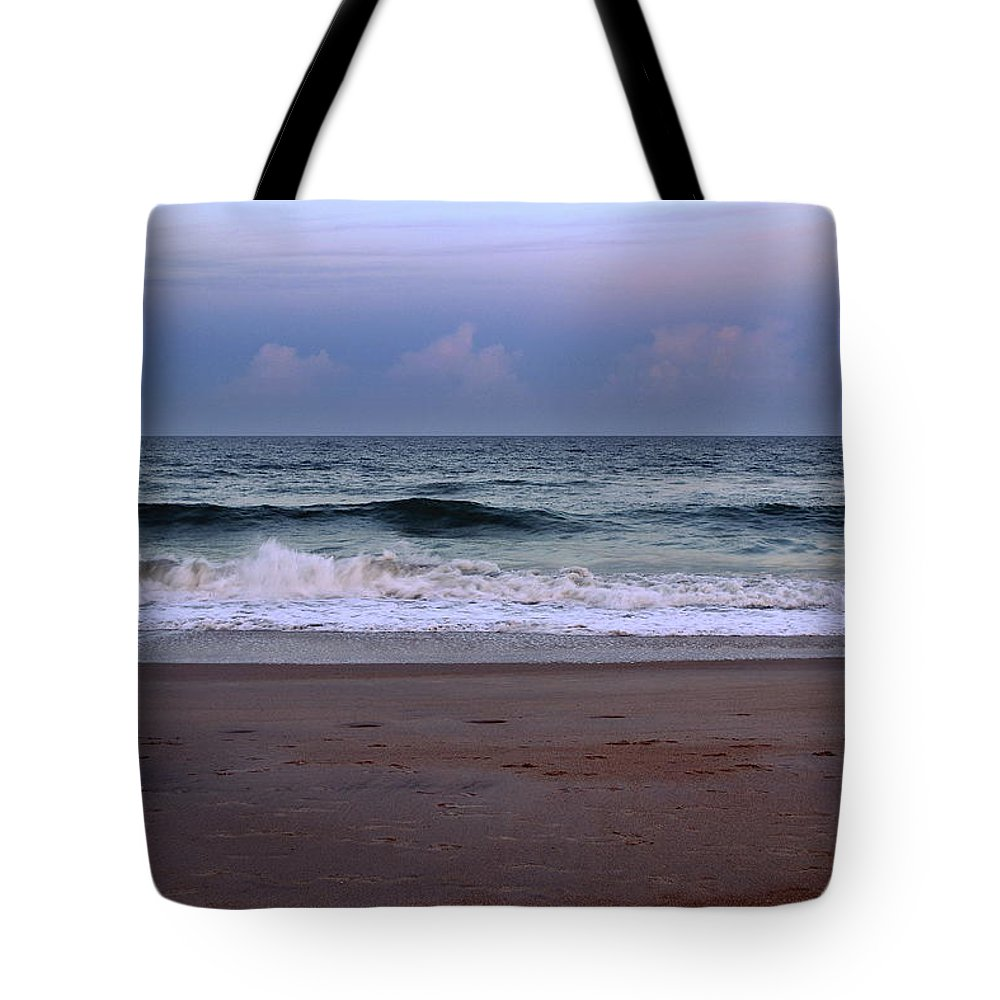 Beach Tote Bag featuring the photograph Wrightsville Sunset Waves by Amy Lucid