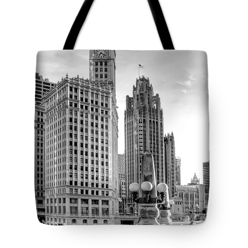 Architecture Tote Bag featuring the photograph Wrigley and Tribune by Scott Norris