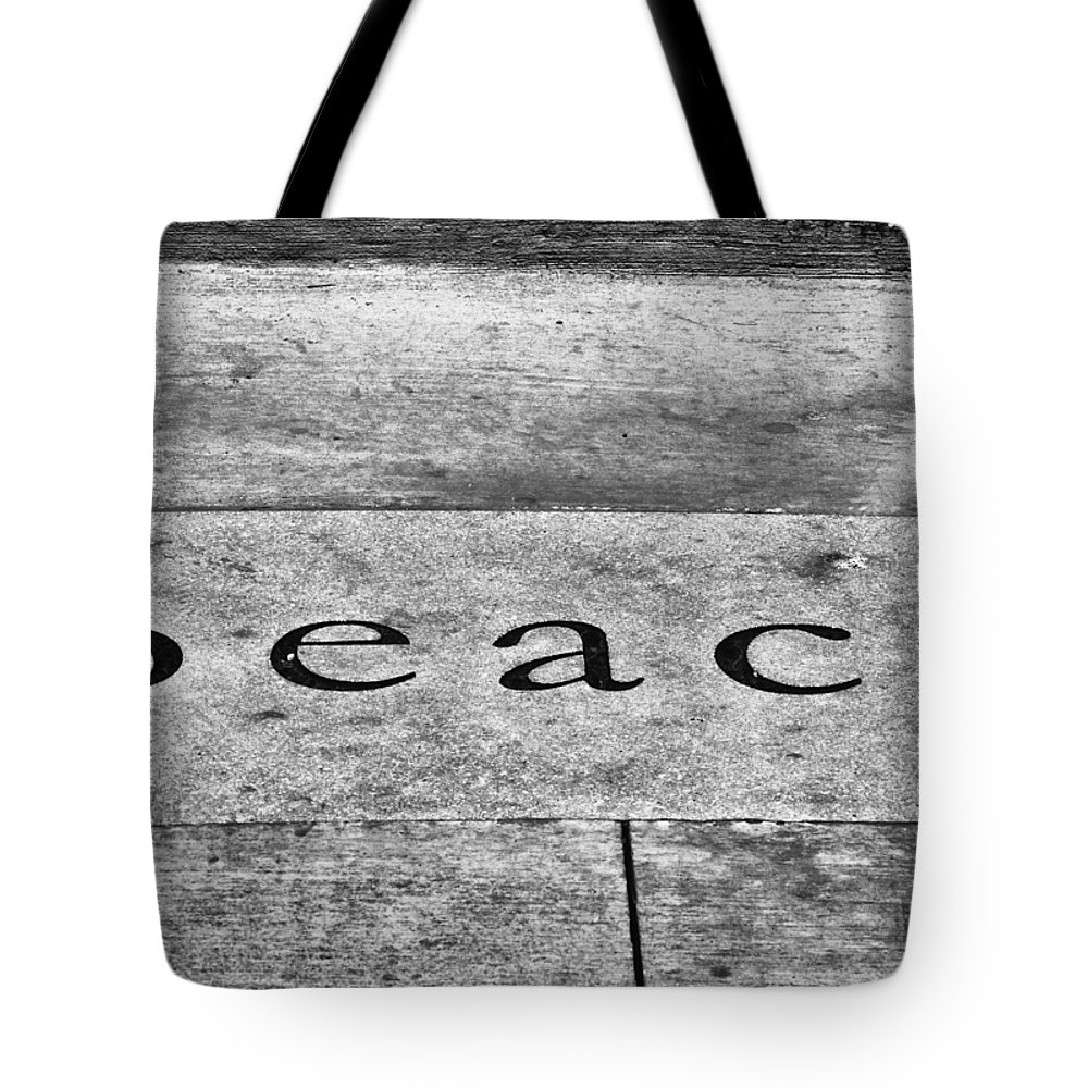 B&w Tote Bag featuring the photograph Written In Stone by Christi Kraft