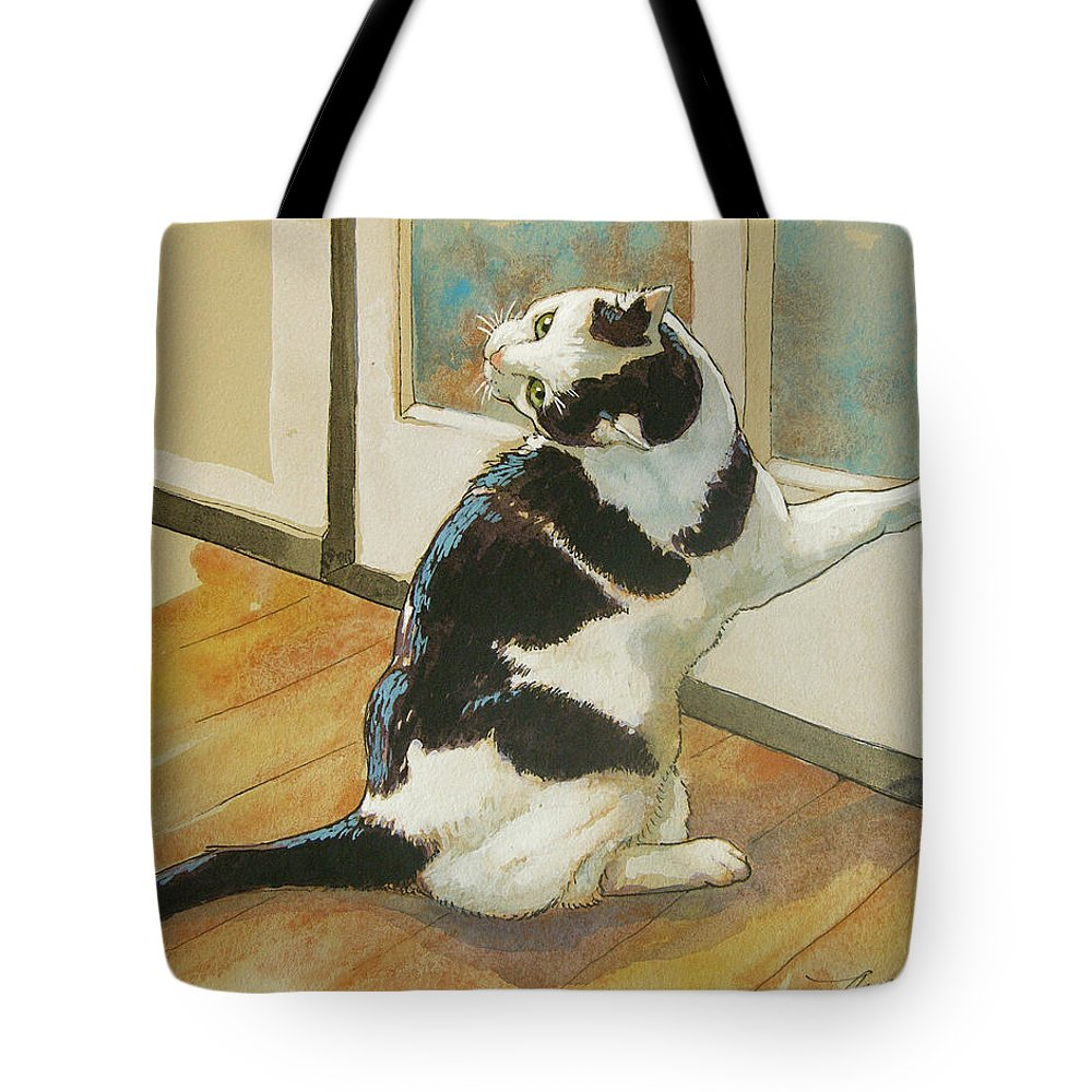 Cat Tote Bag featuring the painting Wrong Side Of The Door by Tracie Thompson