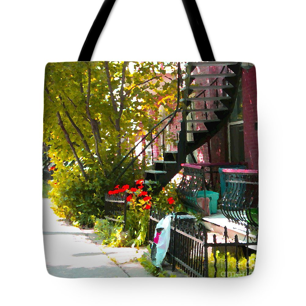Montreal Tote Bag featuring the painting Wrought Iron Fence Balcony And Staircases Verdun Stairs Summer Scenes Carole Spandau by Carole Spandau