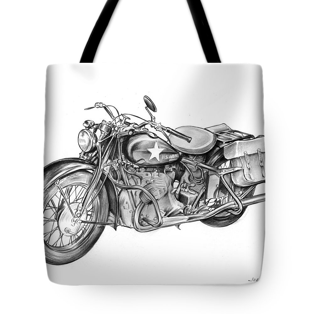 Ww2 Tote Bag featuring the drawing Ww2 Military Motorcycle by Greg Joens