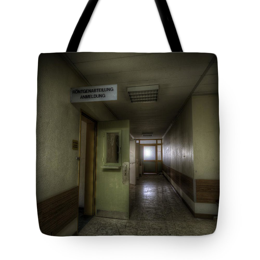 German Tote Bag featuring the digital art X Ray Waiting Room. by Nathan Wright