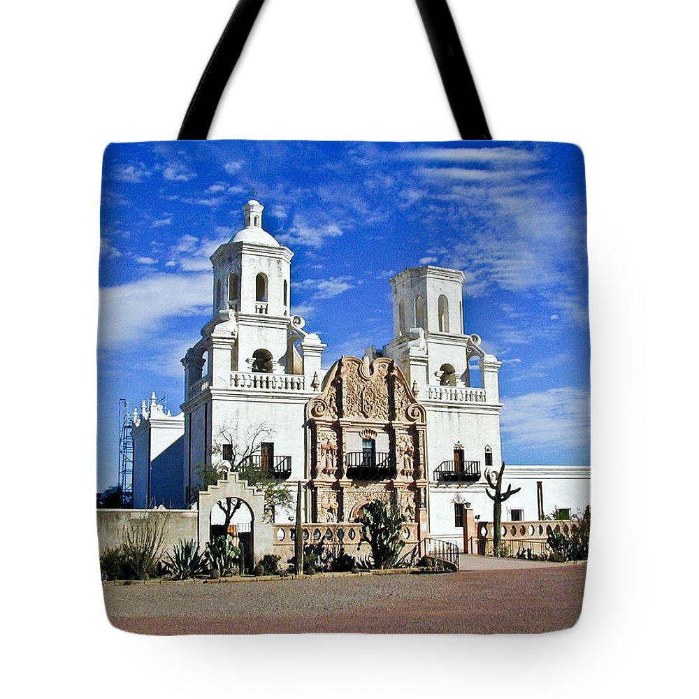 Mission San Xavier Del Bac Tote Bag featuring the photograph Xavier Tucson Arizona by Douglas Barnett