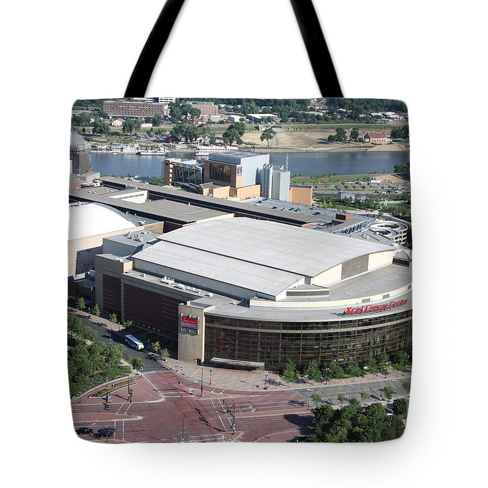 Aerial Tote Bag featuring the photograph Xcel Energy Center In St. Paul Minnesota by Bill Cobb