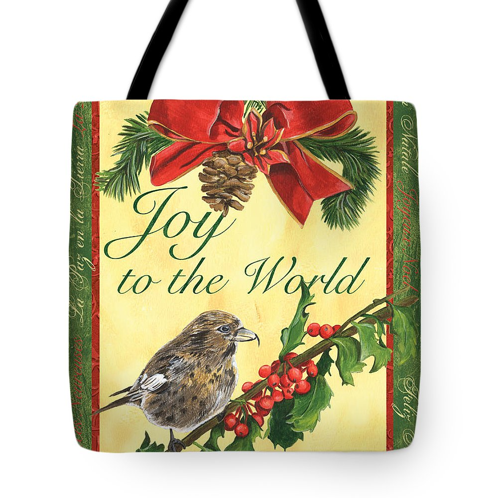 Titmouse Tote Bag featuring the painting Xmas Around The World 2 by Debbie DeWitt