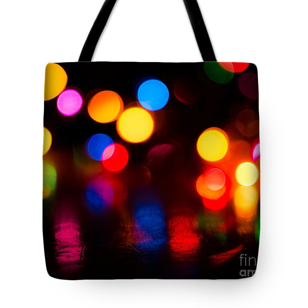 Christmas Lights Tote Bag featuring the photograph Xmas Bokeh by Sonja Quintero