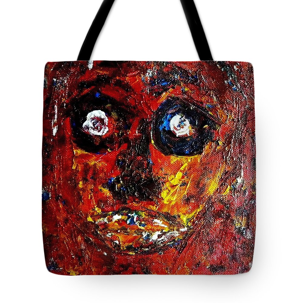 Human Tote Bag featuring the painting Xpressionz 11 by Piety Dsilva