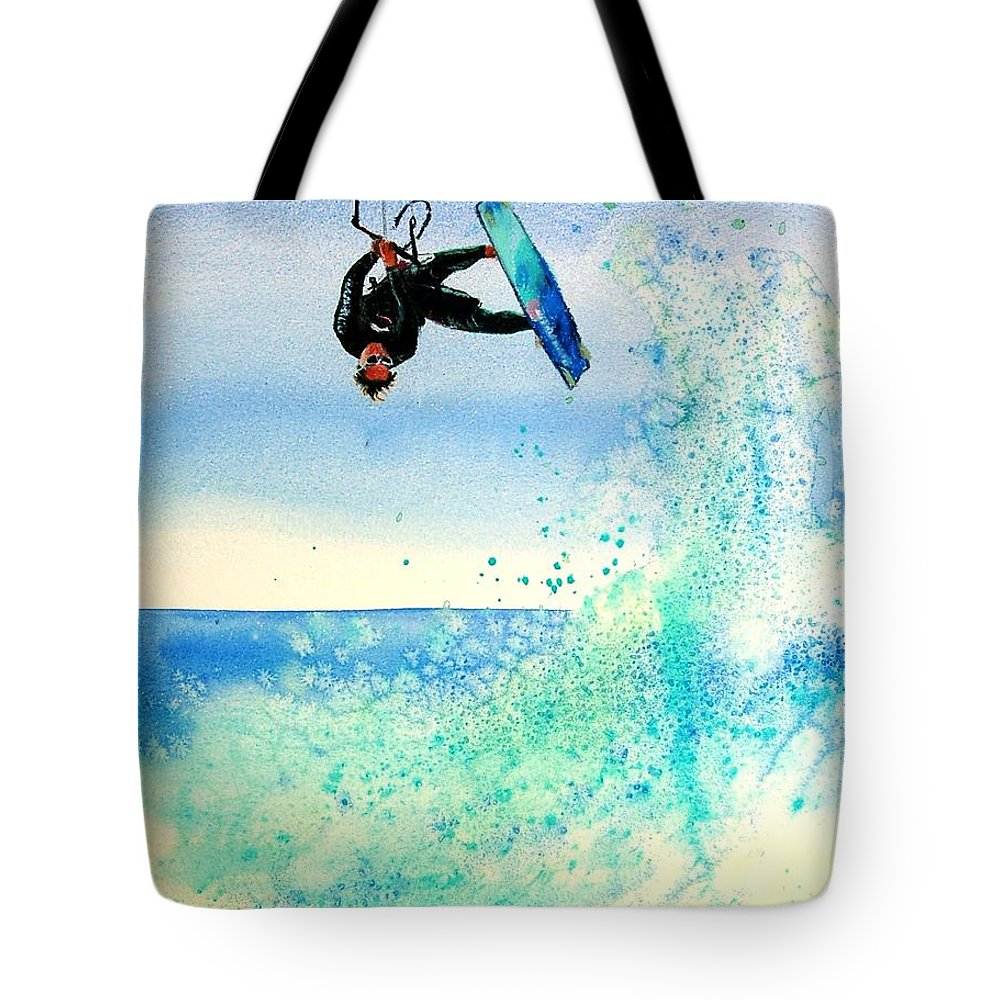 Kiteboarding Tote Bag featuring the painting Xtreme Big Air by Lynee Sapere