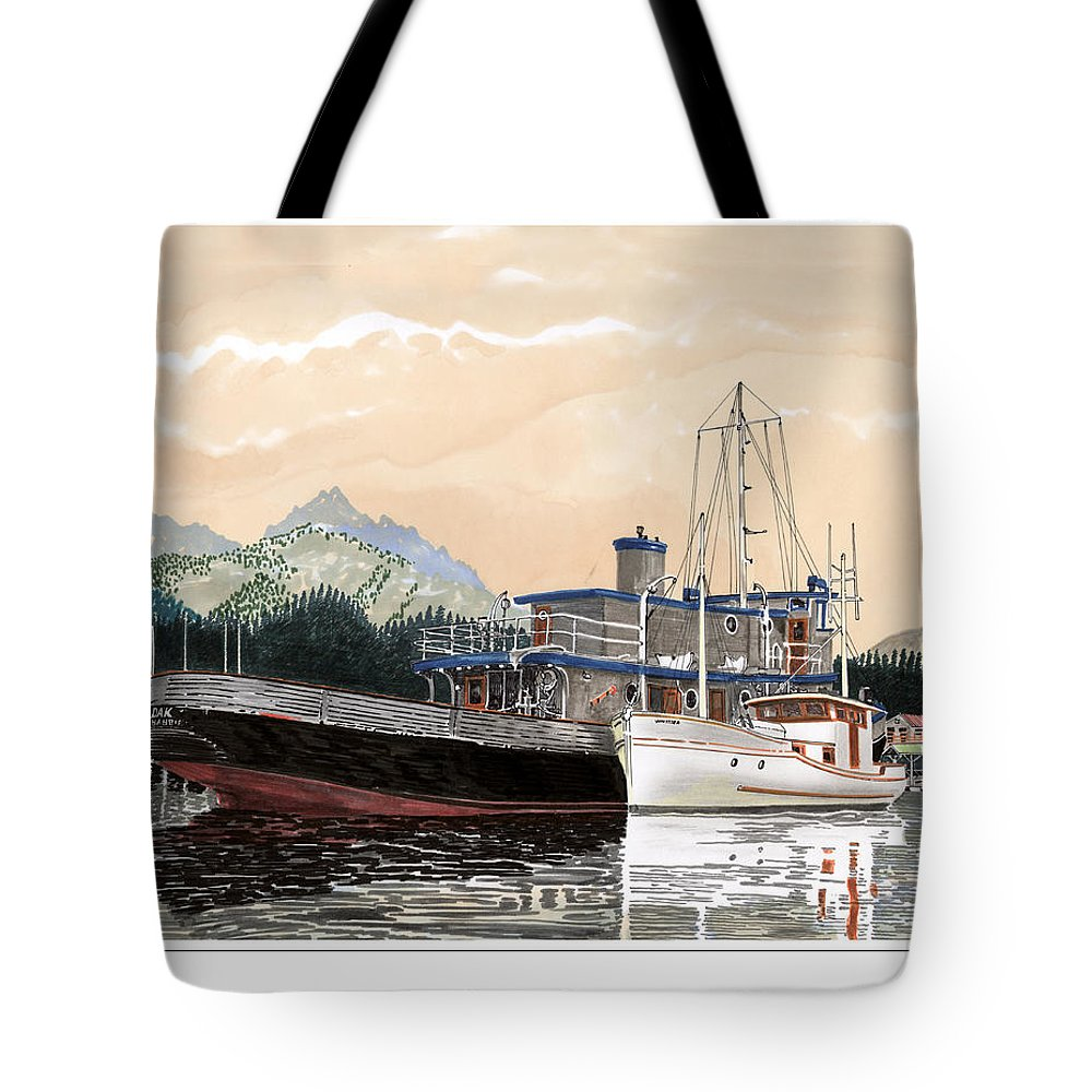 Yacht Portraits Tote Bag featuring the painting Alaskan Sunrise by Jack Pumphrey