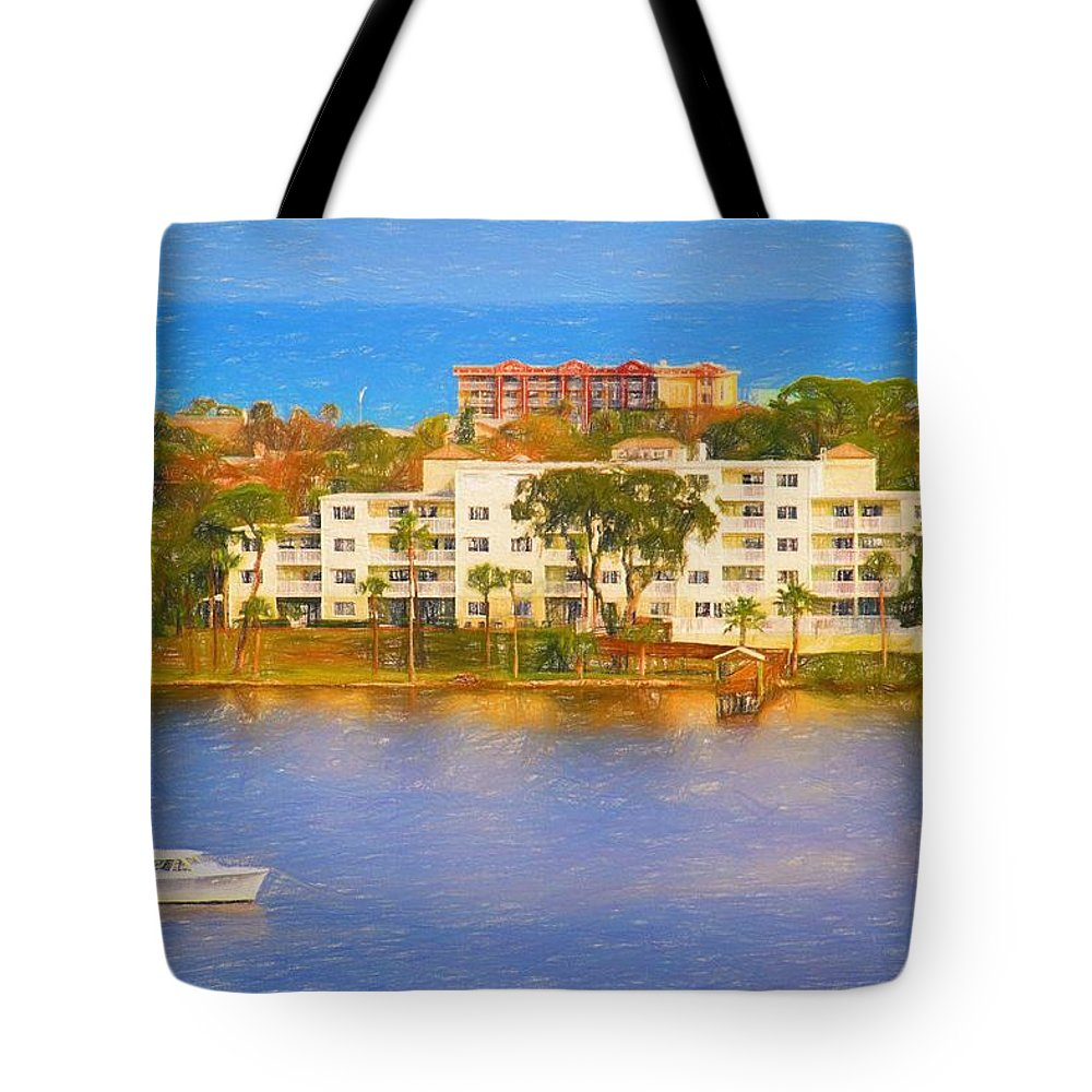 Boat Tote Bag featuring the photograph Yacht On The Water by Alice Gipson