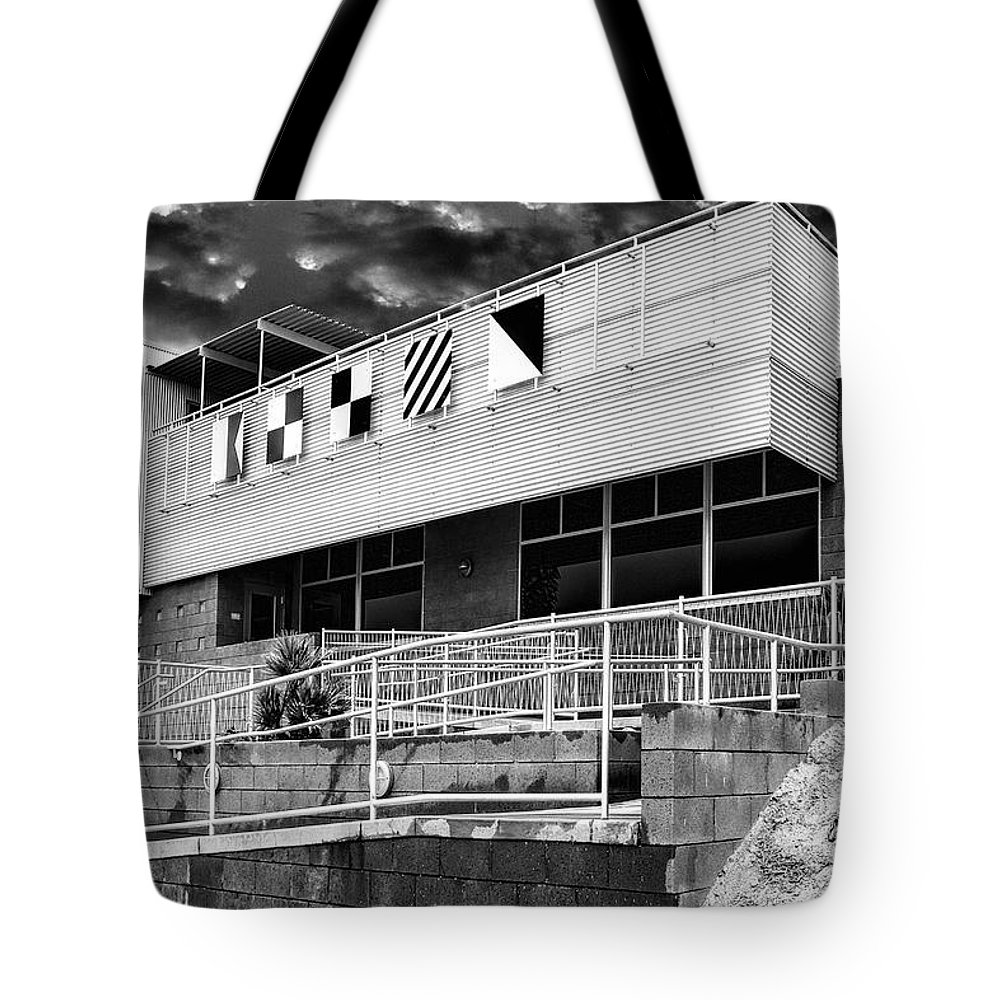 Palm Springs Tote Bag featuring the photograph Yacht Rock Bw North Shore Yacht Club Salton Sea by William Dey