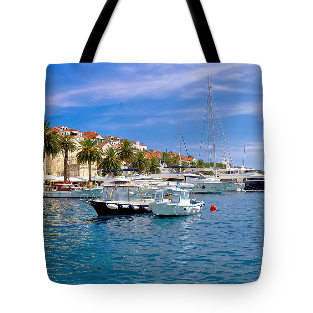 Panorama Tote Bag featuring the photograph Yachting Harbor Of Hvar Island by Brch Photography