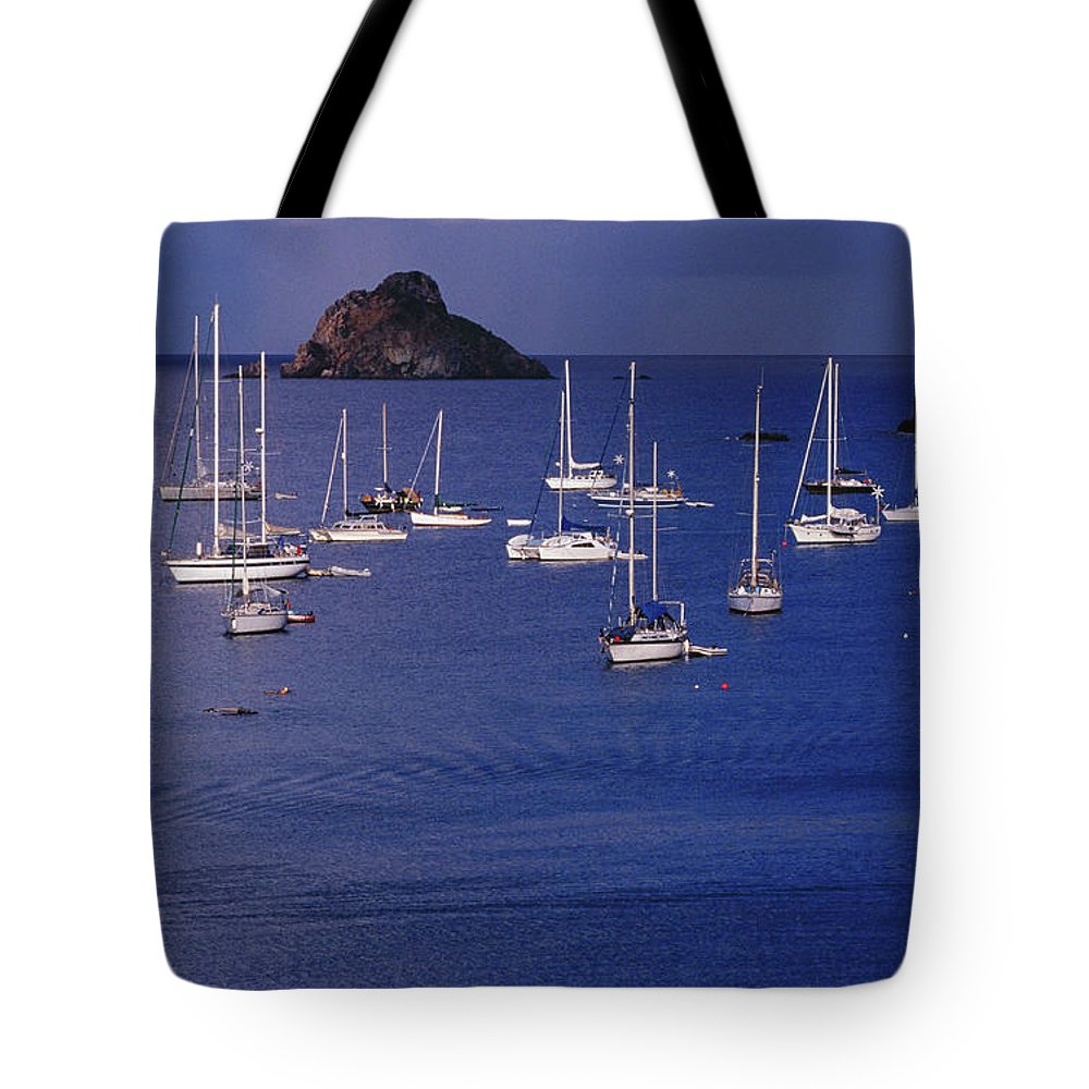 Sailboat Tote Bag featuring the photograph Yachts Moored On The Caribbean Sea Near by Richard I'anson